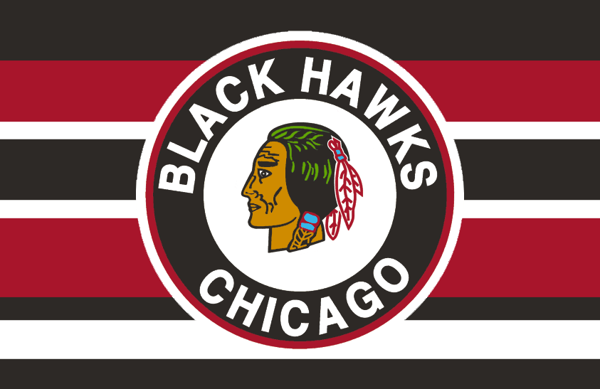 Chicago Black Hawks Logo Jersey Logo (1951/52-1954/55) - Native American head wearing feathered headdress inside a black and red circle on a black, white, and red barberpole-style striped jersey. Worn between 1951-52 and 1954-55 SportsLogos.Net