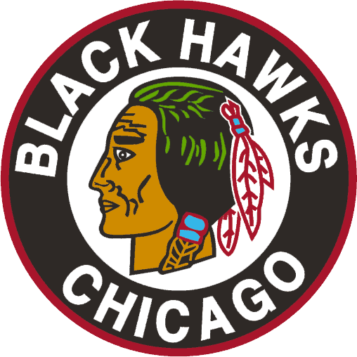 Chicago Black Hawks Logo Primary Logo (1941/42-1954/55) - Native American head in a black circle SportsLogos.Net
