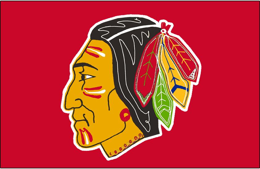 Chicago Black Hawks Logo Jersey Logo (1955/56-1956/57) - Native American head wearing feathered headdress on red, worn on Chicago Black Hawks home red jersey in 1955-56 and 1956-57 SportsLogos.Net