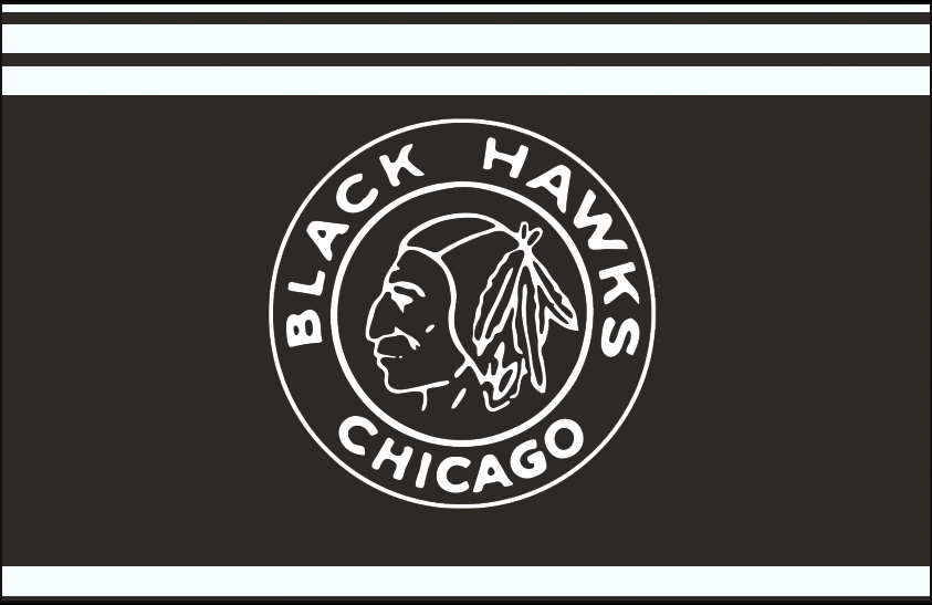 Chicago Black Hawks Logo Jersey Logo (1928/29-1933/34) - Black and white native american head on a black and white circle, worn on a black and white striped jersey from the 1928-29 through 1933-34 SportsLogos.Net