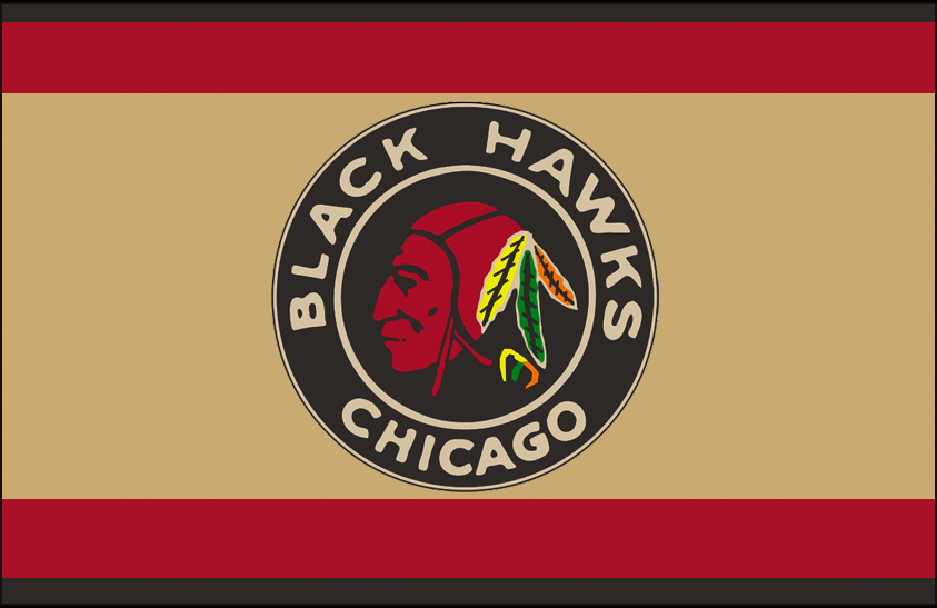 Chicago Black Hawks Logo Jersey Logo (1935/36-1936/37) - Native American head wearing feathered headdress in a black and red circle on a black, red, and tan striped jersey SportsLogos.Net
