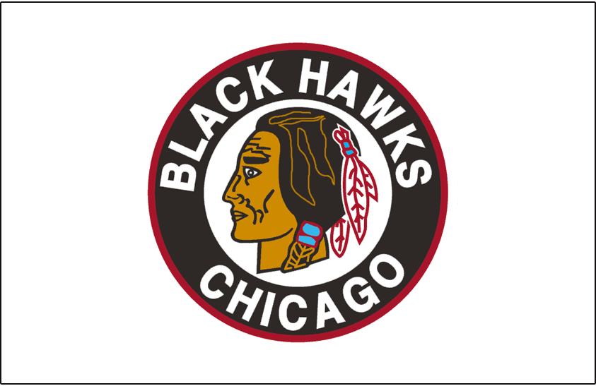 Chicago Black Hawks Logo Jersey Logo (1948/49-1950/51) - Native American head wearing feathered headdress inside a black and red circle on a white jersey from 1948-49 through 1950-51 SportsLogos.Net