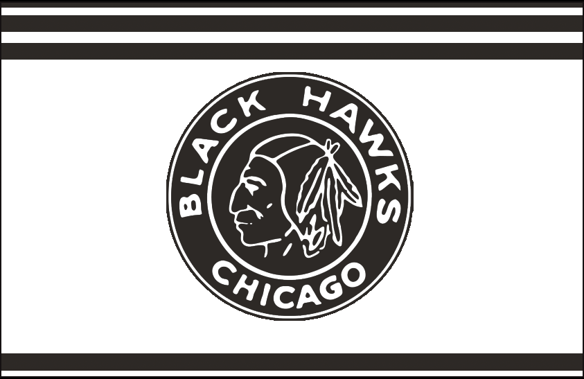 Chicago Black Hawks Logo Jersey Logo (1926/27) - Black and white native american head on a black and white circle, worn on a white and black striped jersey in their 1926-27 inaugural season SportsLogos.Net