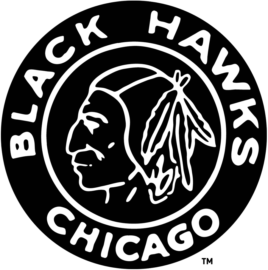 Chicago Black Hawks Logo Primary Logo (1926/27-1934/35) - Black & White Native American head in a black & white circle SportsLogos.Net