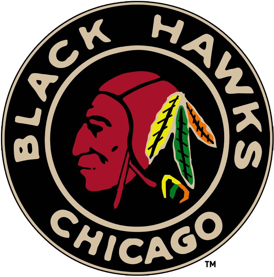 Chicago Black Hawks Logo Primary Logo (1935/36-1936/37) - Native American head in a black circle SportsLogos.Net