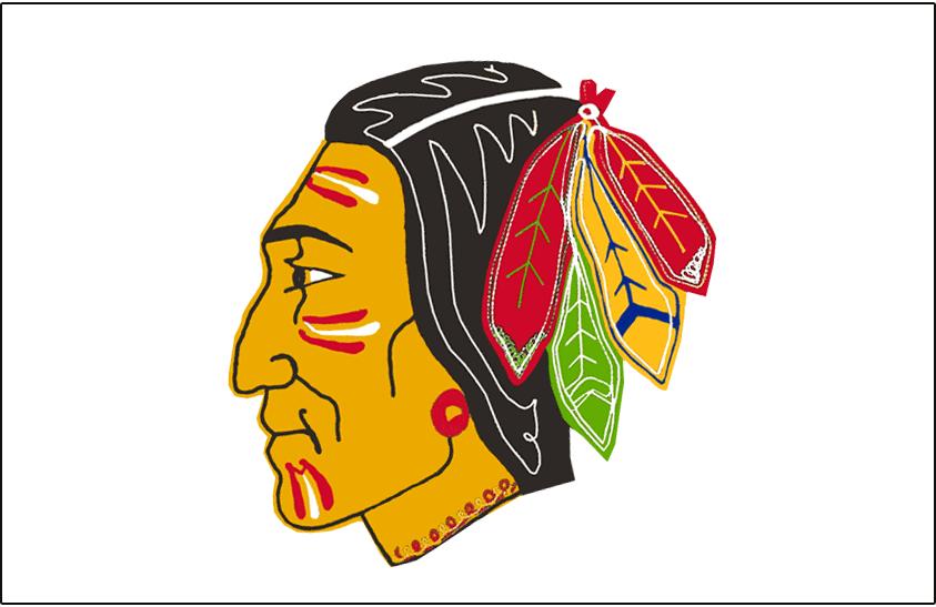 Chicago Black Hawks Logo Jersey Logo (1955/56-1956/57) - Native American head wearing feathered headdress on red, worn on Chicago Black Hawks road white jersey in 1955-56 and 1956-57 SportsLogos.Net