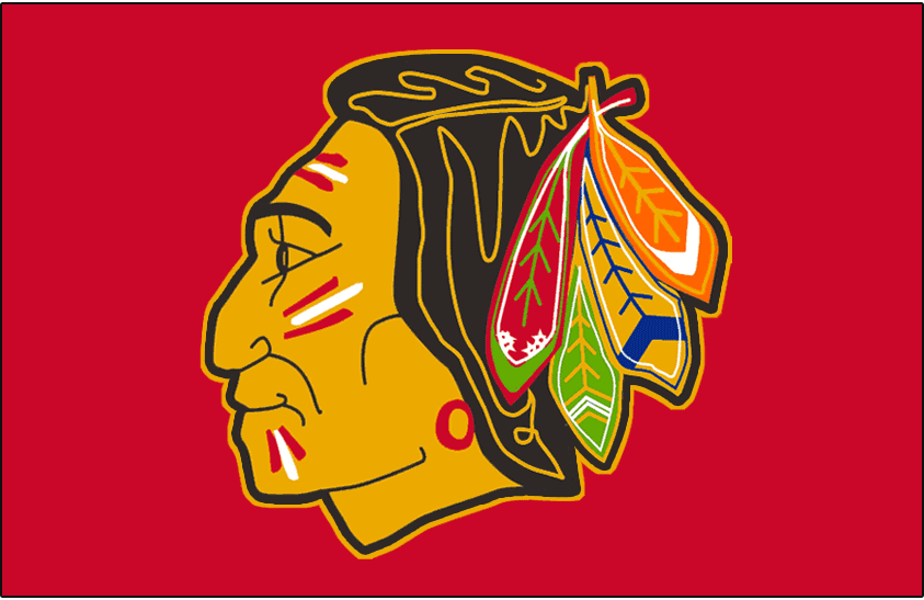 Chicago Black Hawks Logo Jersey Logo (1957/58-1958/59) - Native American head wearing feathered headdress on red, worn on Chicago Black Hawks home red jersey from 1957-58 through 1958-59 SportsLogos.Net