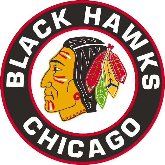Chicago Black Hawks Logo Primary Logo (1955/56-1956/57) - Native American head wearing feathered headdress inside a black and red circle with team name around it SportsLogos.Net