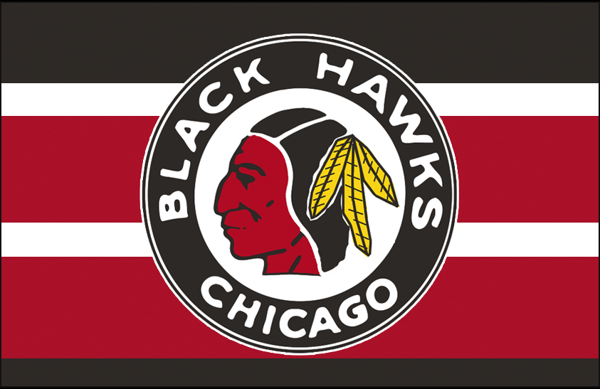 Chicago Black Hawks Logo Jersey Logo (1937/38-1938/39) - Native American head wearing feathered headdress in a black and red circle on a black, red, and white barber pole jersey SportsLogos.Net