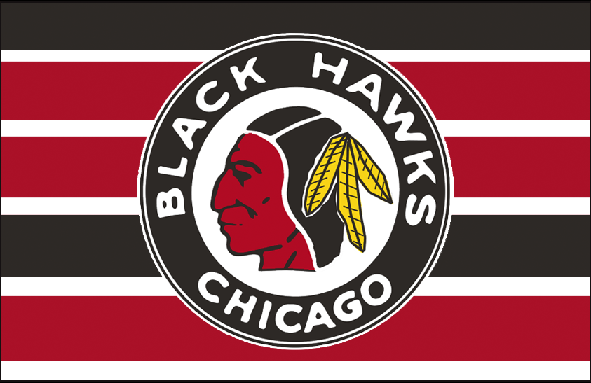 Chicago Black Hawks Logo Jersey Logo (1939/40-1940/41) - Native American head wearing feathered headdress in a black and red circle on a black, red, and white barber pole jersey SportsLogos.Net