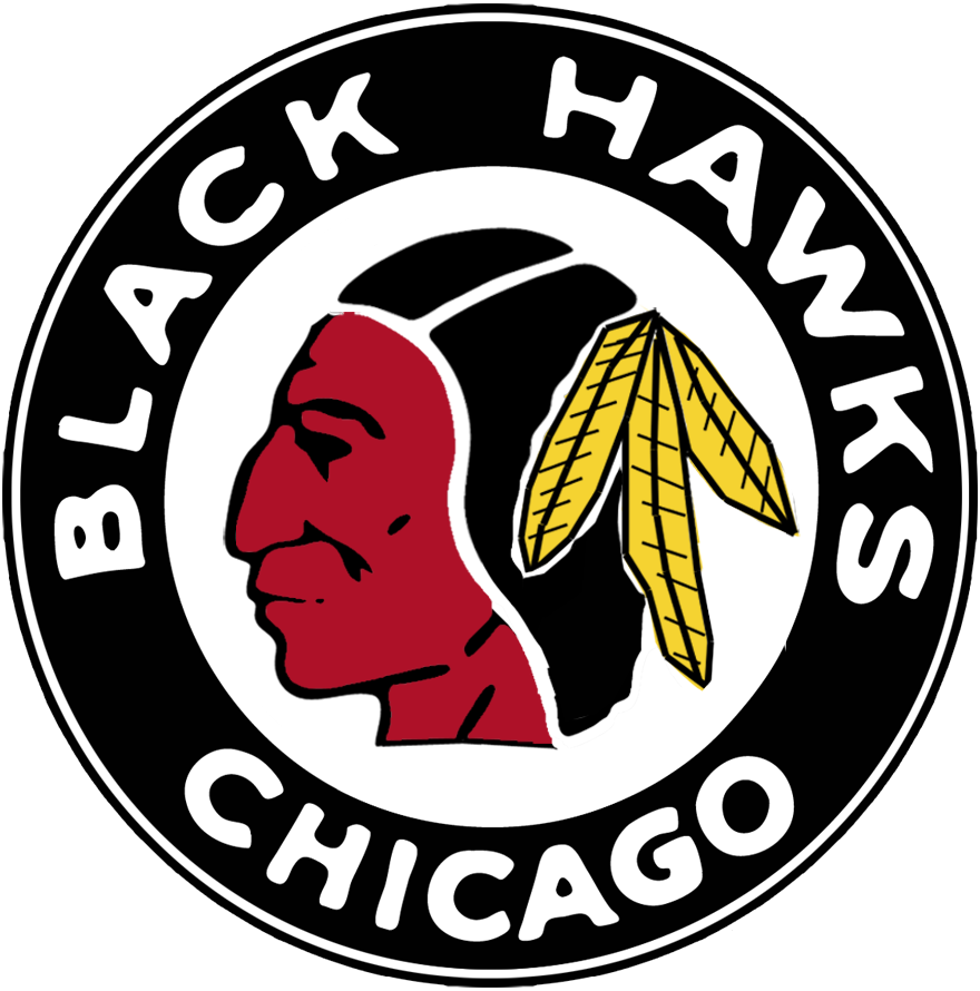 Chicago Black Hawks Logo Primary Logo (1937/38-1940/41) - Native American head wearing feathered headdress in a black and red circle SportsLogos.Net