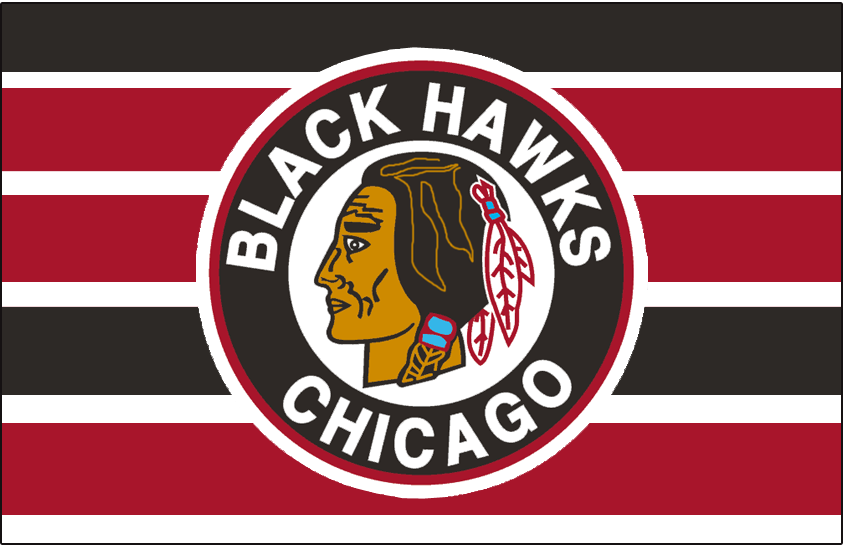Chicago Black Hawks Logo Jersey Logo (1941/42-1950/51) - Native American head wearing feathered headdress inside a black and red circle on a black, red, and white barberpole jersey from 1948-49 through 1950-51 SportsLogos.Net