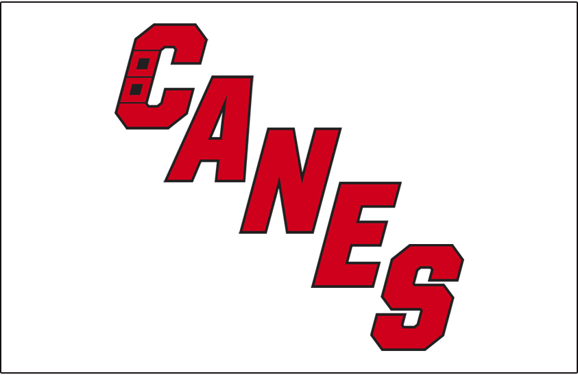 Carolina Hurricanes Logo Jersey Logo (2019/20-Pres) - CANES in red with black trim, hurricane warning flag incorporated into the C. Worn on the Carolina Hurricanes road white jersey beginning with the 2019-20 season SportsLogos.Net