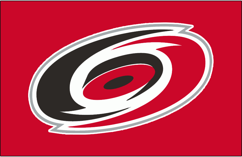 Carolina Hurricanes Logo Jersey Logo (1999/00-Pres) - A red, black, and silver overhead view of a hurricane on red. Worn on the Carolina Hurricanes dark jerseys starting in the 1999-2000 season. Shade of red was darkened considerably from the previous version for the 1999-2000 season SportsLogos.Net