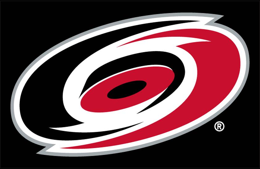 Carolina Hurricanes Logo Primary Dark Logo (1999/00-Pres) - Carolina Hurricanes primary logo on black SportsLogos.Net