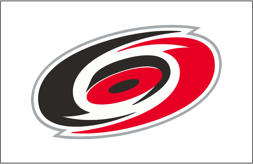 Carolina Hurricanes Logo Jersey Logo (1997/98-1998/99) - A red, black, and silver overhead view of a hurricane on white. Worn on the Carolina Hurricanes white home jerseys from 1997-98 through 1998-99. Shade of red was darkened considerably for the 1999-2000 season SportsLogos.Net