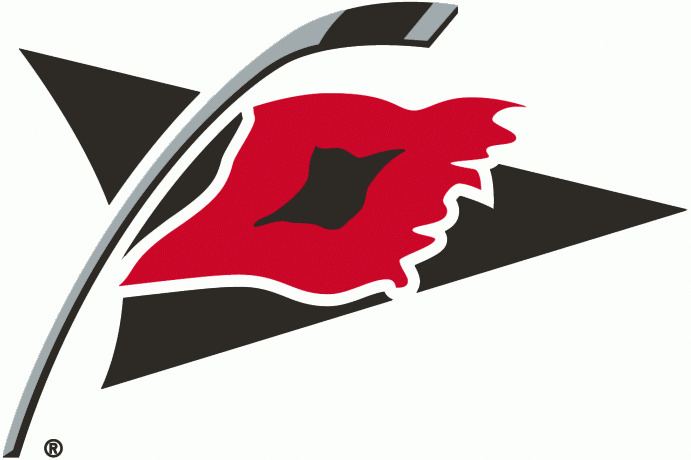 Carolina Hurricanes Logo Alternate Logo (1999/00-2017/18) - A tropical storm warning flag flying on a hockey stick SportsLogos.Net