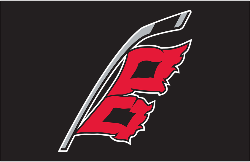 Carolina Hurricanes Logo Jersey Logo (2018/19-Pres) - Hurricanes alternate uniform logo. A hurricane warning flag - two red and black square flags - flying from a grey hockey stick. The shape of North Carolina is formed in the space in between the two flags SportsLogos.Net