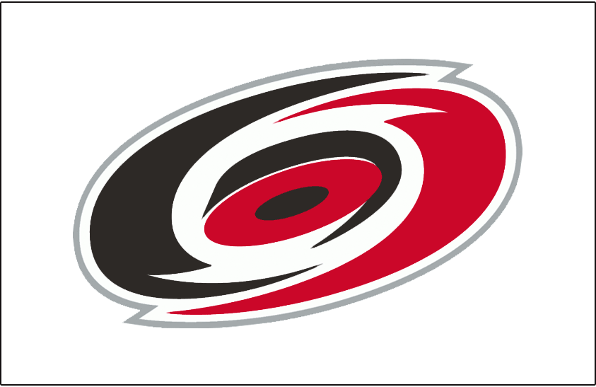 Carolina Hurricanes Logo Jersey Logo (1999/00-2018/19) - A red, black, and silver overhead view of a hurricane on white. Worn on the Carolina Hurricanes white jerseys starting in the 1999-2000 season. Shade of red was darkened considerably from the previous version for the 1999-2000 season SportsLogos.Net