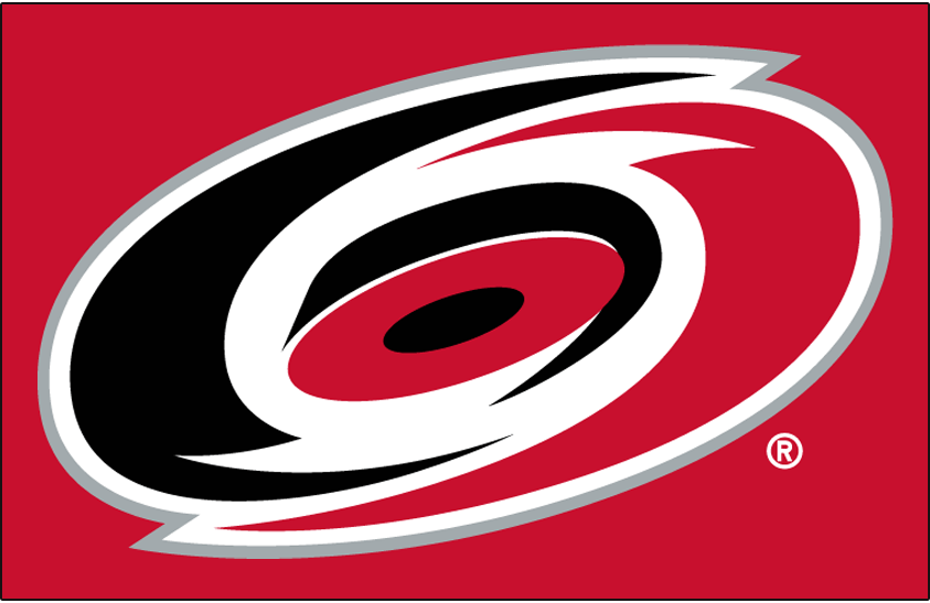 Carolina Hurricanes Logo Primary Dark Logo (1999/00-Pres) - Carolina Hurricanes primary logo on red SportsLogos.Net