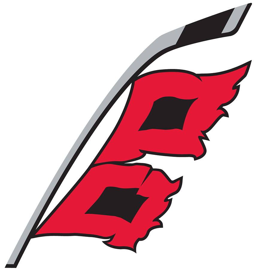 Carolina Hurricanes Logo Alternate Logo (2018/19-Pres) - A hurricane warning flag - two red and black square flags - flying from a grey hockey stick. The shape of North Carolina is formed in the space in between the two flags SportsLogos.Net