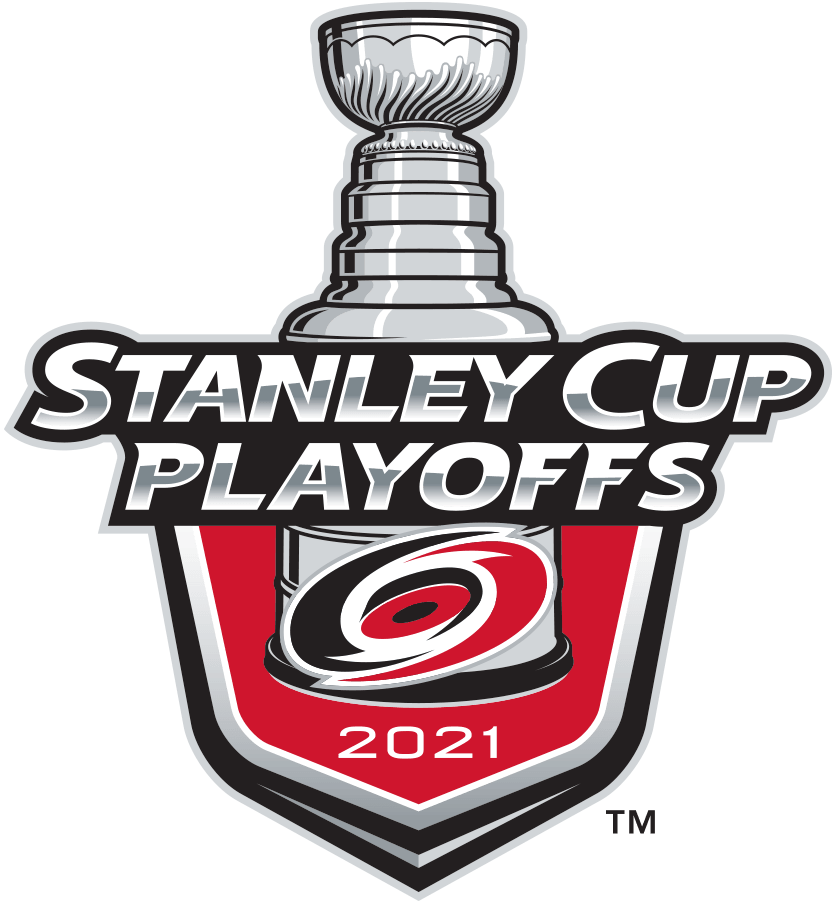 Carolina Hurricanes Logo Event Logo (2020/21) - The Carolina Hurricanes 2021 Stanley Cup Playoffs logo features the Hurricanes red and black logo on a red shield with STANLEY CUP PLAYOFFS written above in silver and 2021 below in white. A depiction of the top-half of the Stanley Cup can be seen above the shield. This logo is used by the Hurricanes on various materials throughout their participation in the 2021 NHL Stanley Cup Playoffs. SportsLogos.Net