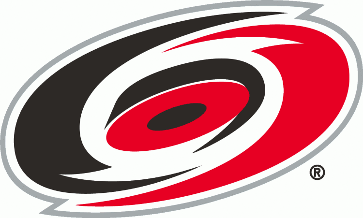 Carolina Hurricanes Logo Primary Logo (1997/98-1998/99) - A red and black circle resembling a hurricane SportsLogos.Net