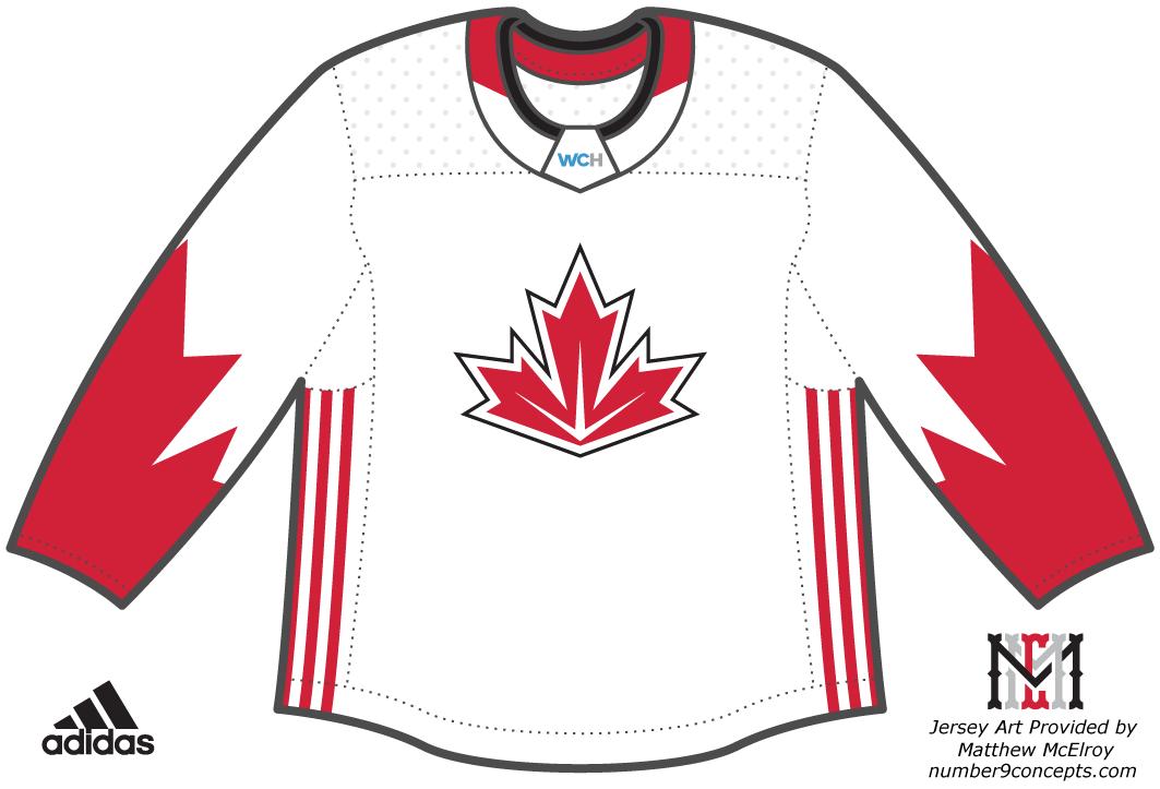 World Cup of Hockey Uniform Light Uniform (2016/17) - Team Canada light jersey for the World Cup of Hockey 2016 SportsLogos.Net