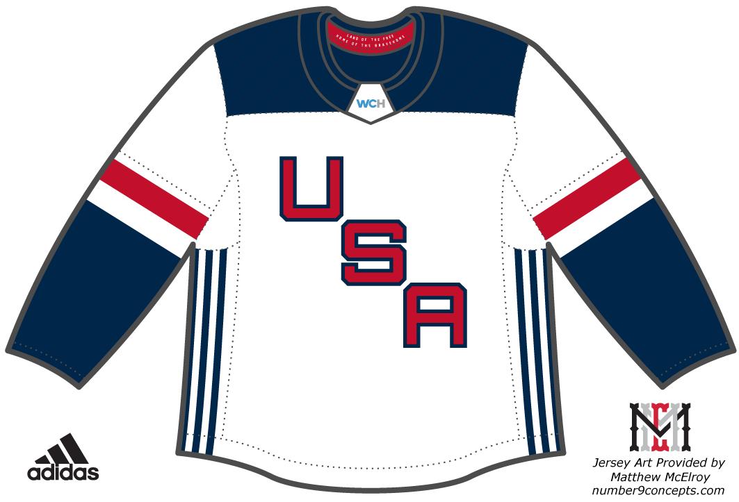 World Cup of Hockey Uniform Light Uniform (2016/17) - Team USA light jersey for the World Cup of Hockey 2016 SportsLogos.Net