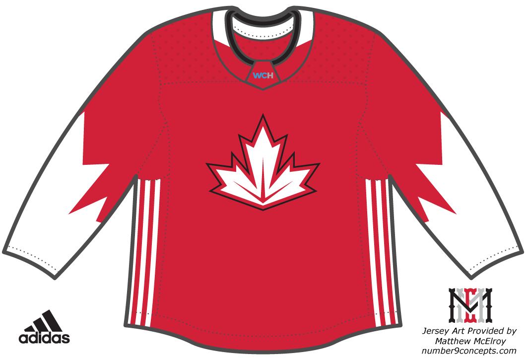 World Cup of Hockey Uniform Dark Uniform (2016/17) - Team Canada dark jersey for the World Cup of Hockey 2016 SportsLogos.Net