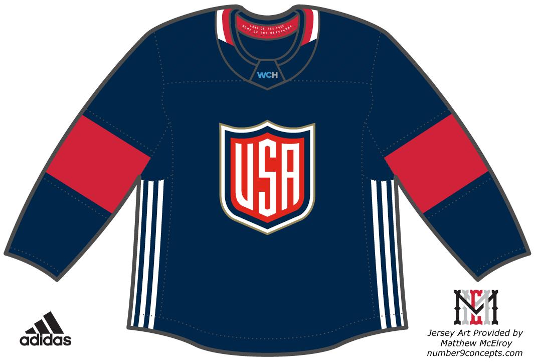 World Cup of Hockey Uniform Dark Uniform (2016/17) - Team USA dark jersey for the World Cup of Hockey 2016 SportsLogos.Net