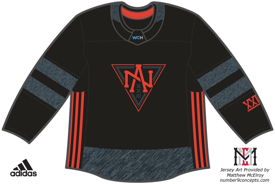 World Cup of Hockey Uniform Dark Uniform (2016/17) - Team North America dark jersey for the World Cup of Hockey 2016 SportsLogos.Net