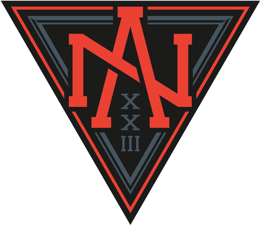 World Cup of Hockey Logo Team Logo (2016/17) - Team North America Under 23 logo for the 2016 World Cup of Hockey. Logo features a stylized NA design in red on a grey and black triangle with Roman Numeral for 23 (XXIII) below SportsLogos.Net