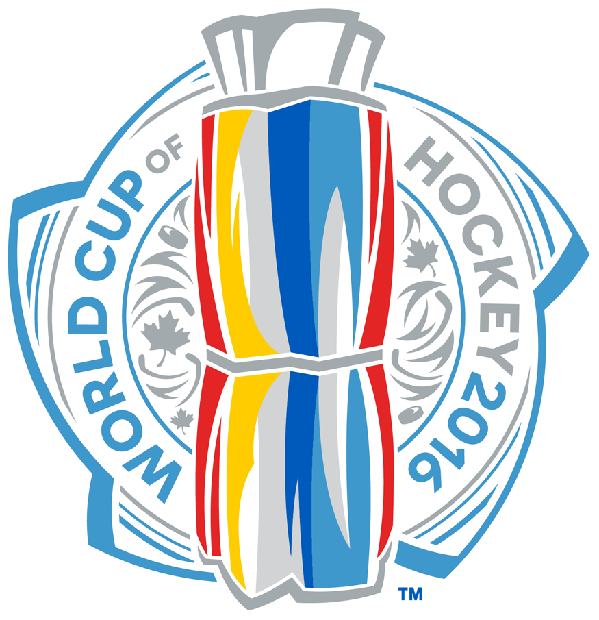 World Cup of Hockey Logo Primary Logo (2016/17) - 2016 World Cup of Hockey Primary Logo, features the tournament championship trophy in blue, red, yellow, and silver. Name of tournament with maple leaf (for the host city of Toronto, Canada) imagery surrounding it SportsLogos.Net