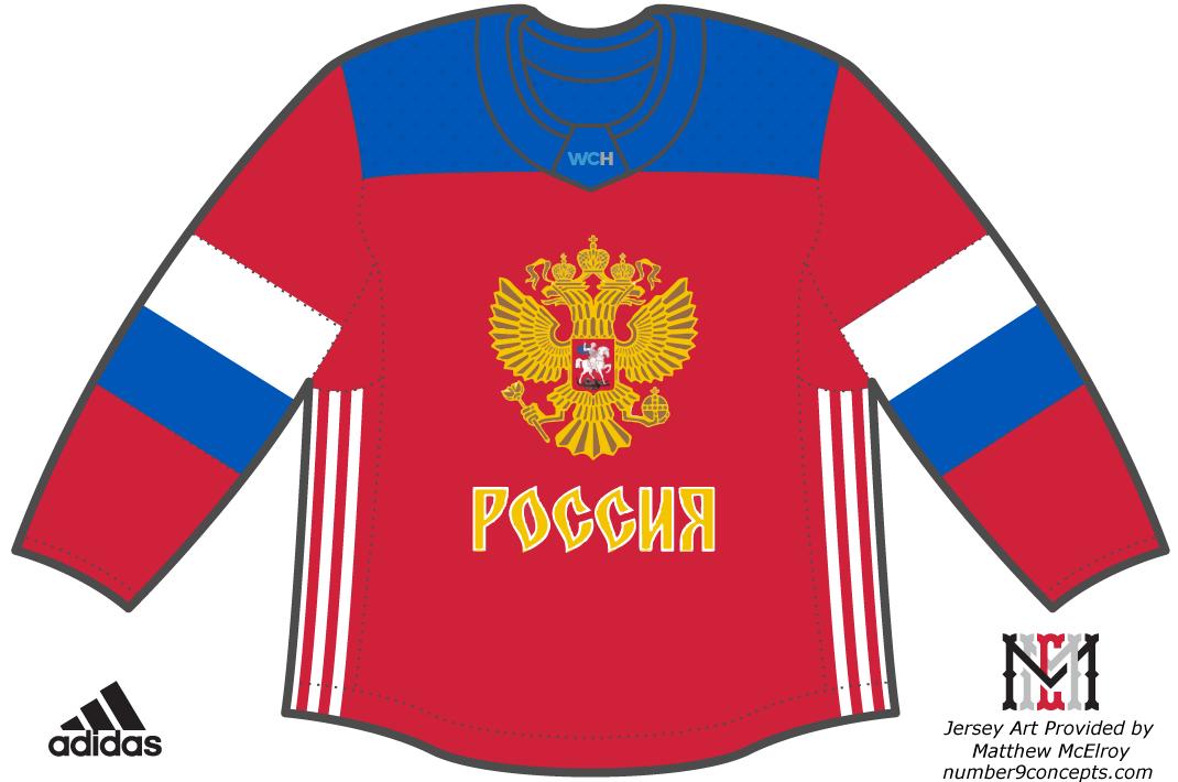 World Cup of Hockey Uniform Dark Uniform (2016/17) - Team Russia dark jersey for the World Cup of Hockey 2016 SportsLogos.Net