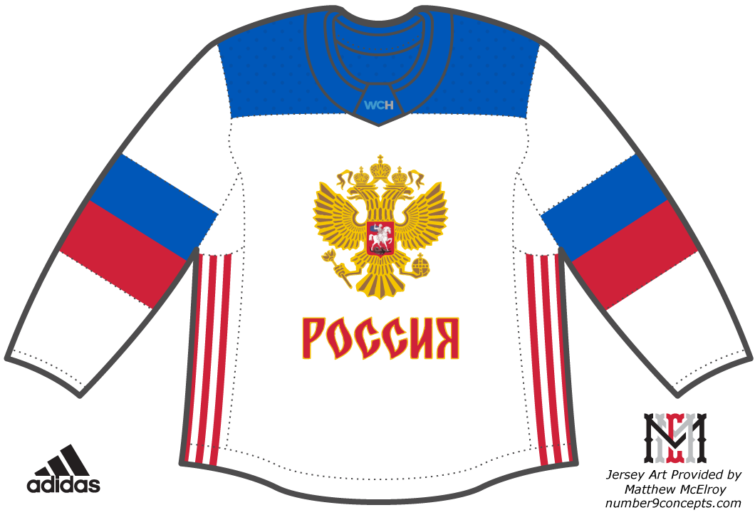 World Cup of Hockey Uniform Light Uniform (2016/17) - Team Russia light jersey for the World Cup of Hockey 2016 SportsLogos.Net