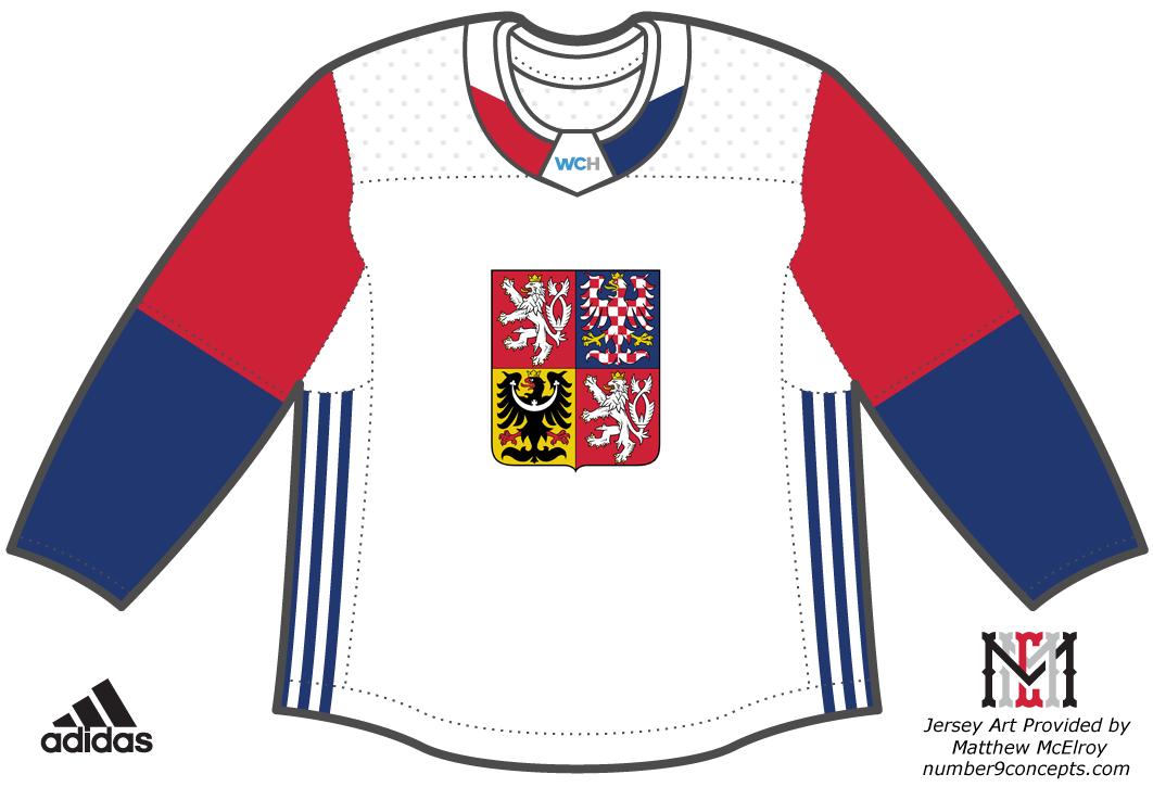 World Cup of Hockey Uniform Light Uniform (2016/17) - Team Czech Republic light jersey for the World Cup of Hockey 2016 SportsLogos.Net