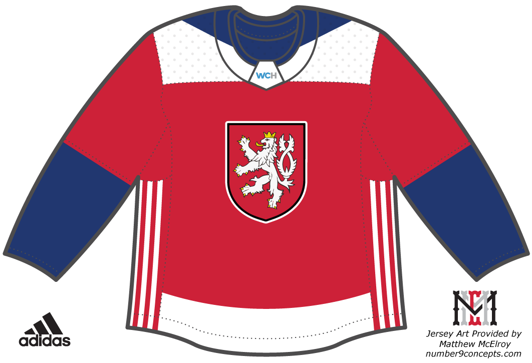 World Cup of Hockey Uniform Unused Uniform (2016/17) - Team Czech Republic dark jersey - Chris Creamer explains why the Czech Coat of Arms crest featured on this jersey design was deemed 'illegal' here at this link --> http://news.sportslogos.net/2016/04/27/illegal-logo-forces-change-to-world-cup-of-hockey-uniform/ SportsLogos.Net