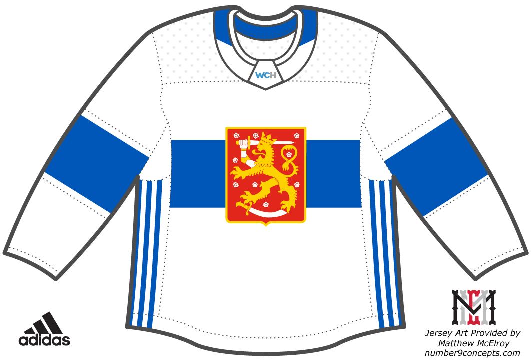 World Cup of Hockey Uniform Light Uniform (2016/17) - Team Finland light jersey for the World Cup of Hockey 2016 SportsLogos.Net