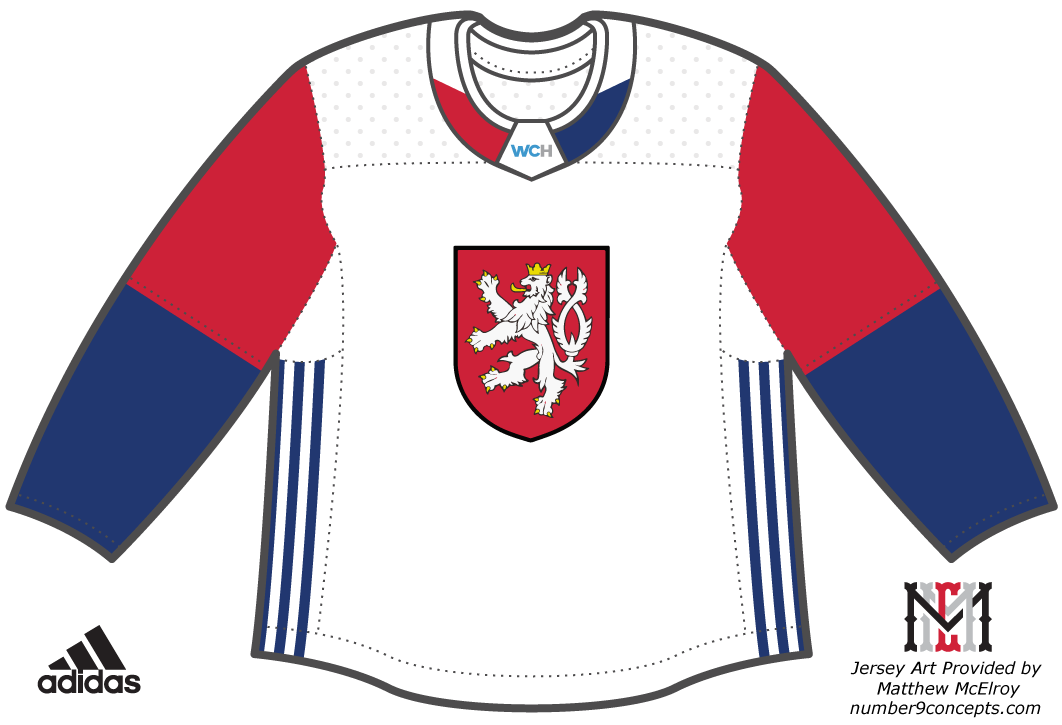World Cup of Hockey Uniform Unused Uniform (2016/17) - Team Czech Republic light jersey - Chris Creamer explains why the Czech Coat of Arms crest featured on this jersey design was deemed 'illegal' here at this link --> http://news.sportslogos.net/2016/04/27/illegal-logo-forces-change-to-world-cup-of-hockey-uniform/ SportsLogos.Net