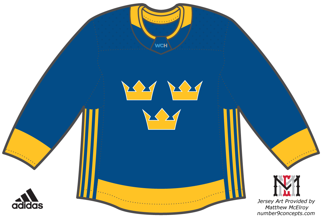 World Cup of Hockey Uniform Dark Uniform (2016/17) - Team Sweden dark jersey for the World Cup of Hockey 2016 SportsLogos.Net