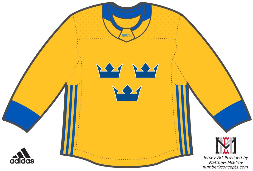 World Cup of Hockey Uniform Light Uniform (2016/17) - Team Sweden light jersey for the World Cup of Hockey 2016 SportsLogos.Net