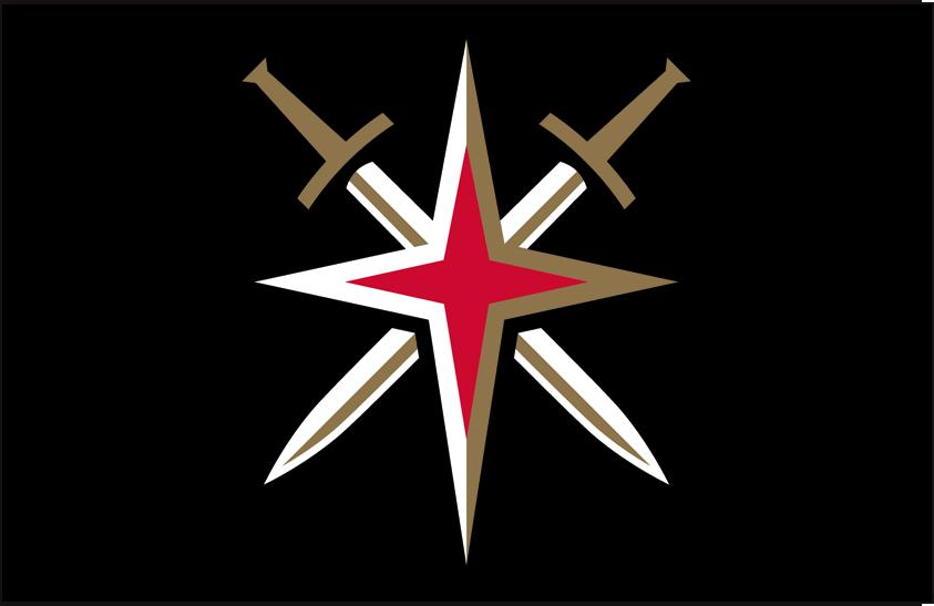 Vegas Golden Knights Logo Alt on Dark Logo (2017/18-Pres) - Vegas Golden Knights alternate starburst logo on black background SportsLogos.Net