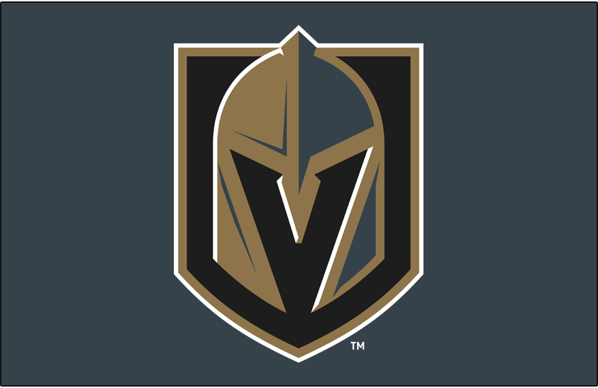 Vegas Golden Knights Logo Primary Dark Logo (2017/18-Pres) - Vegas Golden Knights primary logo on steel grey background SportsLogos.Net