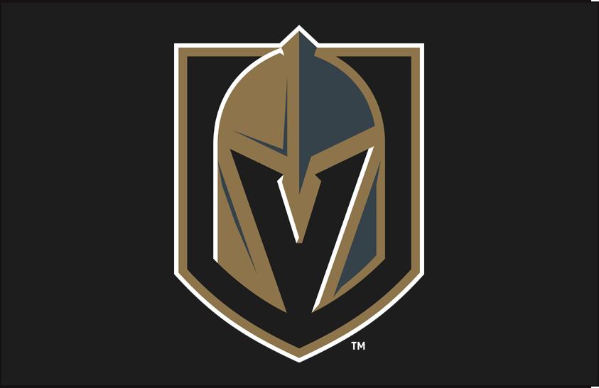 Vegas Golden Knights Logo Primary Dark Logo (2017/18-Pres) - Vegas Golden Knights primary logo on black background SportsLogos.Net