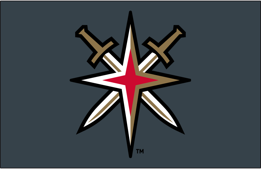 Vegas Golden Knights Logo Alt on Dark Logo (2017/18-Pres) - Vegas Golden Knights alternate starburst logo on steel grey background SportsLogos.Net