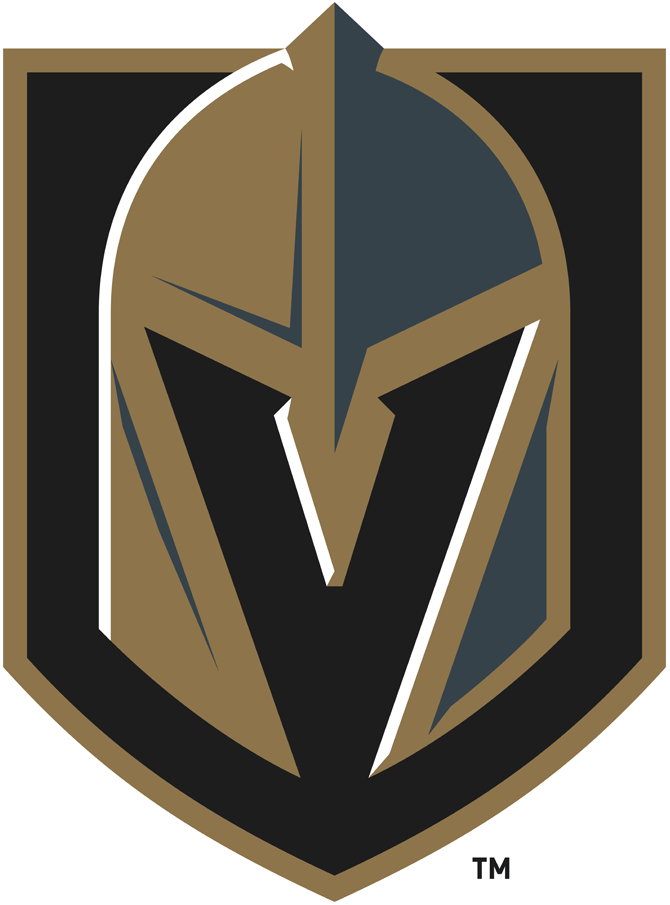 Vegas Golden Knights Logo Primary Logo (2017/18-Pres) - A gold and steel grey knights helmet with a V for Vegas cut out of the front, the helmet sits on a black and gold shield SportsLogos.Net