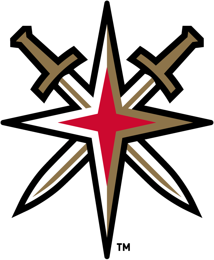 Vegas Golden Knights Logo Alternate Logo (2017/18-Pres) - A starburst in the shape of the star on the Welcome to Las Vegas sign with two crossed swords added in SportsLogos.Net