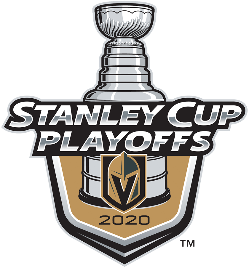 Vegas Golden Knights Logo Event Logo (2019/20) - The Vegas Golden Knights 2020 Stanley Cup Playoffs logo features the Golden Knights gold and black helmet-on-a-shield logo on a gold shield with STANLEY CUP PLAYOFFS written above in silver and 2020 below in black. A depiction of the top-half of the Stanley Cup can be seen above the shield. This logo is used by the Golden Knights on various materials throughout their participation in the 2020 NHL Stanley Cup Playoffs. SportsLogos.Net