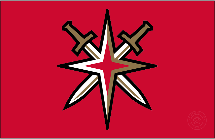Vegas Golden Knights Logo Jersey Logo (2020/21-Pres) - The Vegas Golden Knights Reverse Retro logo, the jersey itself is a throwback to the 1990s and the minor league Las Vegas Thunder team but the logo is the Knights modern alternate logo showing a starburst intersected by two crossed swords. This logo is worn on a red jersey. SportsLogos.Net